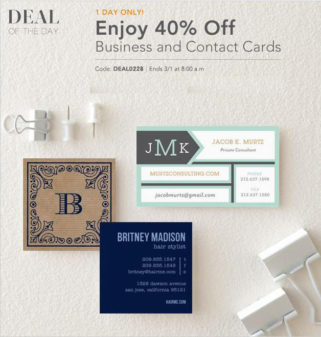 Discovery Cube Coupon >> Tiny Prints Deal of the Day: 40% Off Business Cards - Life ...