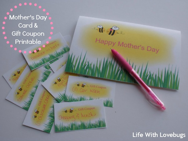 Mother's Day Card & Gift Coupon Printable