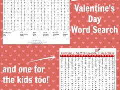 Two Printable Valentines Day Word Searches