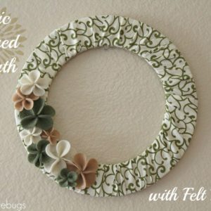 Fabric Covered Wreath with Felt Flowers Tutorial