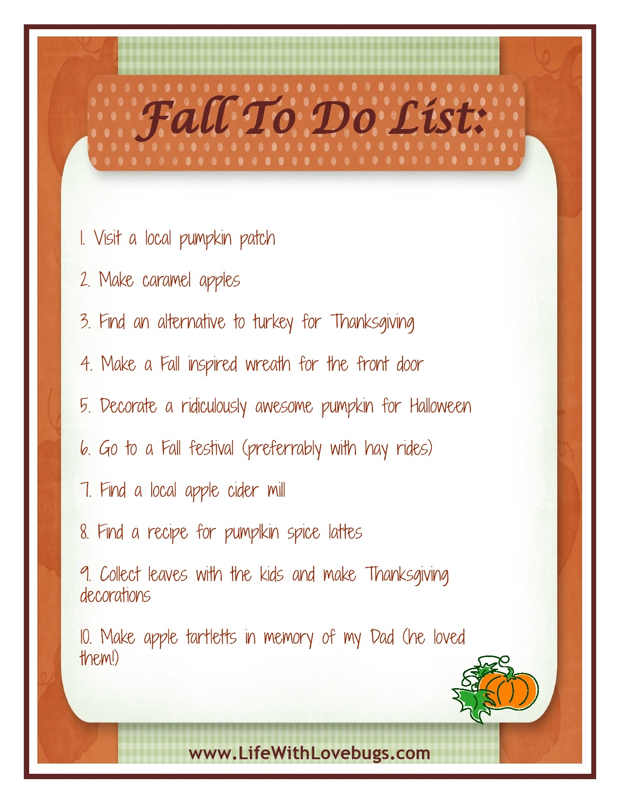 My Fall To Do List {Free Printable} - Life With Lovebugs