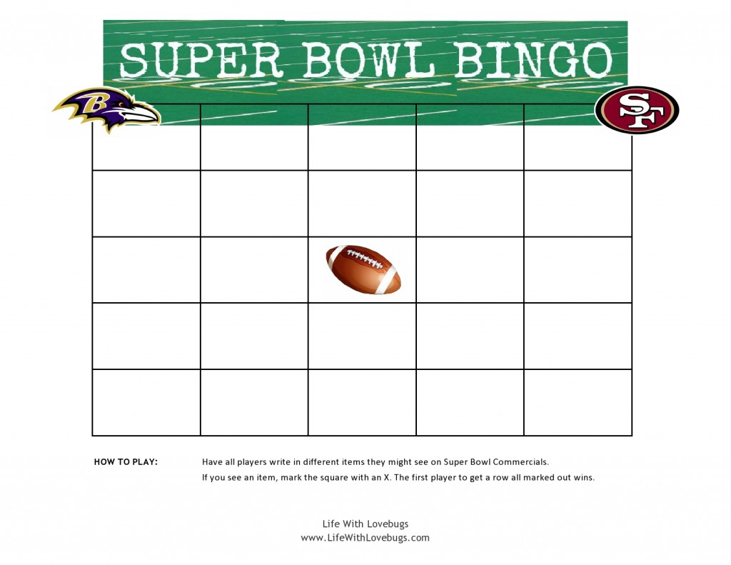 photo about Printable Super Bowl Bingo Cards identify Tremendous Bowl Bingo Printable