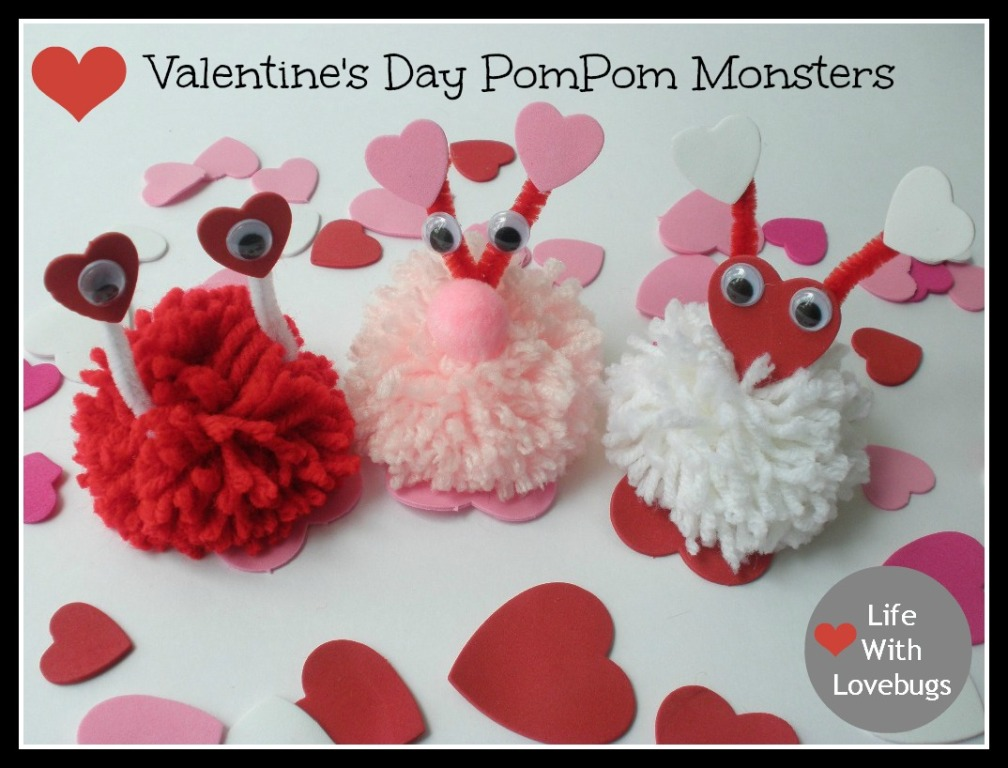 valentines day pompom monsters life with lovebugs - Valentines Day Daughter