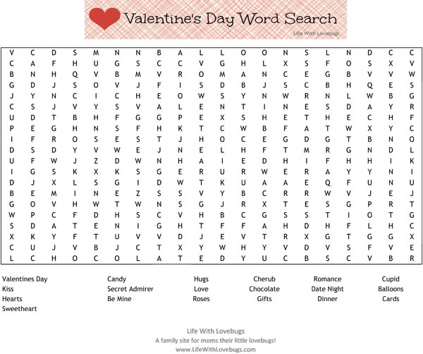 Valentine's Day Word Search {Printable} - Life With Lovebugs