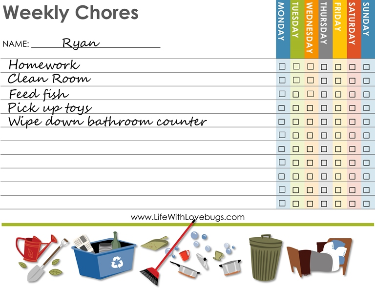 Childrens Weekly Chore Chart - Life With Lovebugs