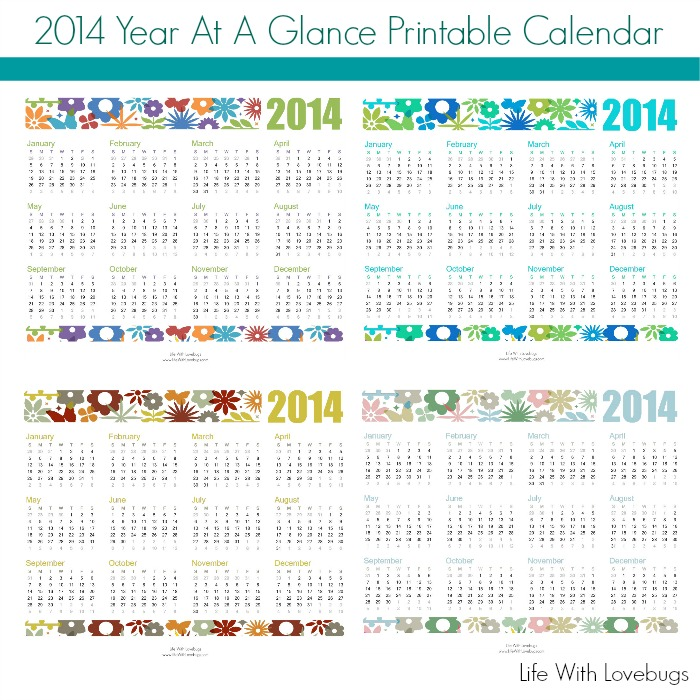 2014 Year At A Glance Printable Calendar Life With Lovebugs