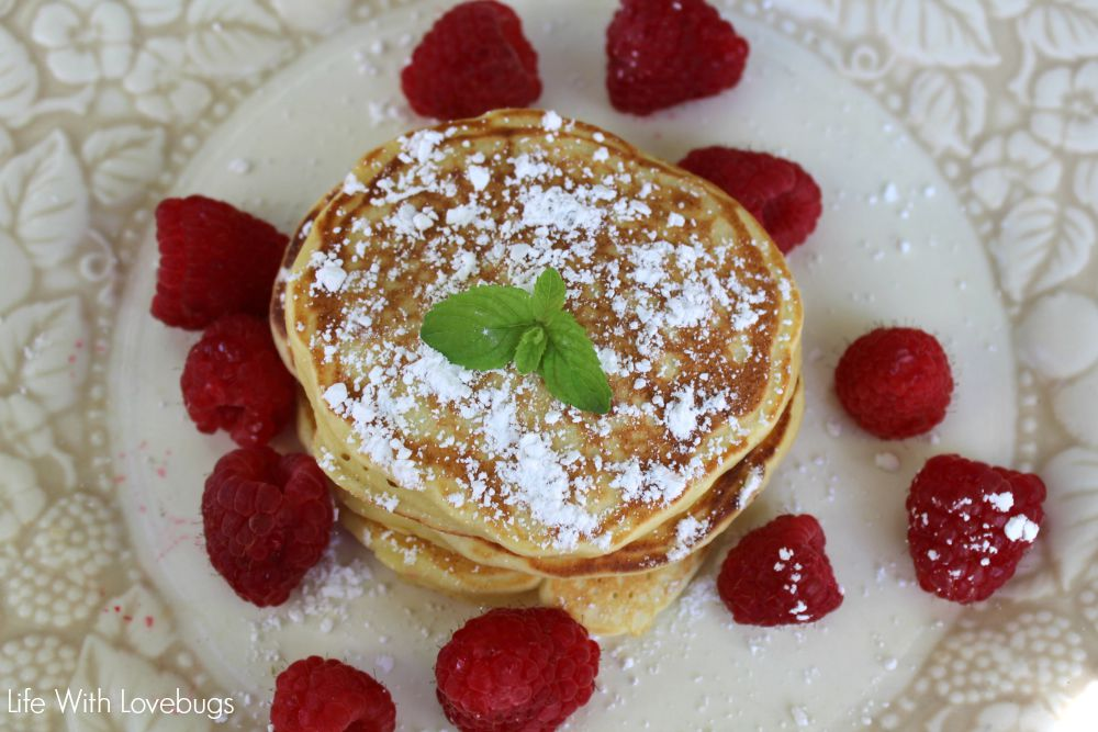We like to eat our Lemon Ricotta Pancakes with butter, powdered sugar ...